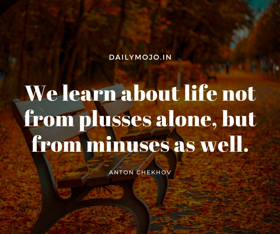We learn about life not from plusses alone, but from minuses as well.