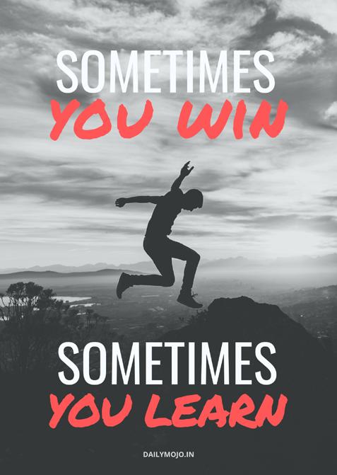 Safalta ke sutra- motivational poster. Sometimes you win. Sometimes you learn -